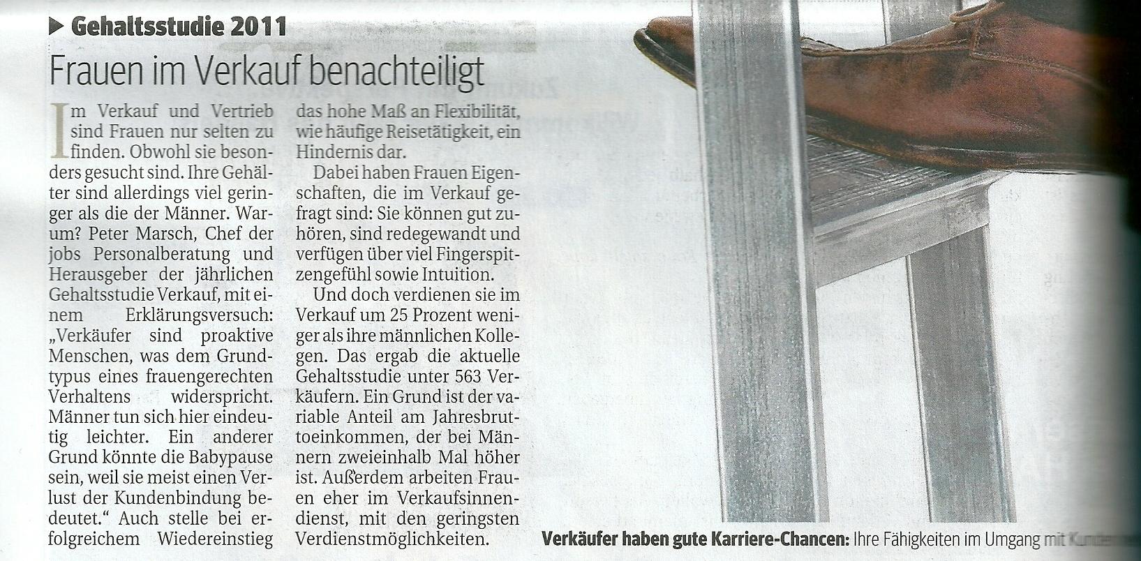 Frauen im Verkauf benachteiligt Kurier Sa. 18.06.2011
