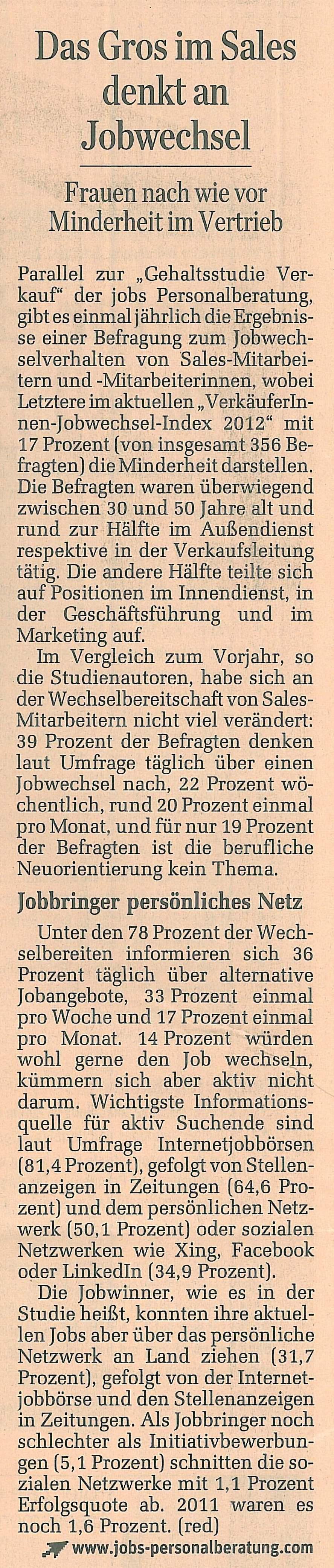 Das Gros im Sales denkt an Jobwechsel Standard 13./14.10.2012